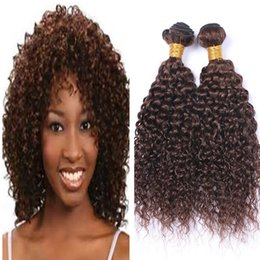 chestnut brown hair weave 2019 - Deep Wave Brown Hair Weft High Quality Products Deep Curly #4 Chestnut Brwon Hair Weaves Peruvian Virgin Human Hair Weav