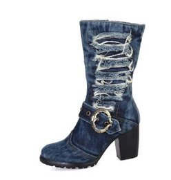 $enCountryForm.capitalKeyWord Canada - New Design Boots Women Brand Denim Fashion Short Boots Thick Heels Side Zip Cowboy Boots jean boots Euro Size 35- 42