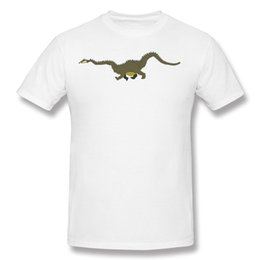 Barato Tshirt Men Online-Man Natural Cotton T Shirt Design Dragon Tshirt Online Hombre Awesome T Shirts Para Homens Dark Green Pop 100% Algodão Camisa Branca Para Homens