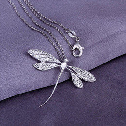 Discount 925 sterling silver dragonfly pendant 10PCS lot Free shipping 925 Sterling silver plated Long Dragonfly Pendant LKNSPCP076