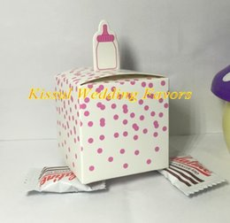 Wholesale For Bottle Boxes Australia - 150Pcs lot Baby Shower Candy Favors Classic Bottle Favor Box For baby birthday favor candy box and baby souvenirs box