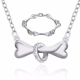 $enCountryForm.capitalKeyWord NZ - Simple Silver Plated Dog Bone Tag Necklace+Earrings+Bracelet Sets for Women Wedding Bridal Jewelry Sets