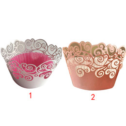 cupcake cakes designs UK - Wholesale- 12Pcs set Vine Filigree Cupcake Laser Cut Clouds Design Cake Paper Wrapper Muffin Wrap Surround Edge Birthday Party Decor