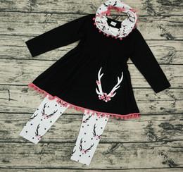f9f95f9bba383 La ropa del bebé de la caída embroma la ropa larga del boutique de los  cabritos de los juegos de la ropa de las muchachas scarf + tassel top +  pants de ...