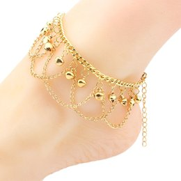China Bohemia Style Yellow Gold Color Bell Charm Multi Chains Tassels Anklet Bracelet Foot Jewelry 26cm Long for Women Festive Best Gift suppliers