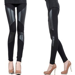 Pantalon Sexy En Cuir Noir Pas Cher-Wholesale- 3 Patterns Black leggings femmes faux cuir 2016 New Slim Fit Women Splicing Sexy Stretch Stripe Cotton Legging Pants Taille libre