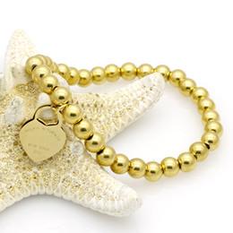 $enCountryForm.capitalKeyWord Canada - Fashion Love Heart Brand 316L Stainless Steel Beads Chain Bracelet Titanium Steel Charms Gold Silver Bracelet for Women Men