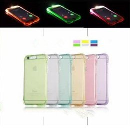iphone led back Canada - Fashion Shockproof Soft TPU LED Flash Light Up Case Remind Incoming Call Clear Back Cover for Iphone 6 7 6S 5S SE plus