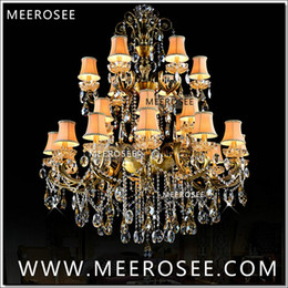 modern tier chandelier UK - Large 3 Tiers 24 Arms Crystal Chandelier Light Fixture Antique Brass Luxurious Crystal Lustre Lamp MD8504 L24 D1150mm H1400mm