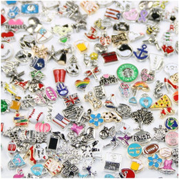 bulk charms 2019 - Hot wholesale 100pcs lot Floating Locket Charms Bulk Mix Many styles Multi Designs Jewelry Fittings for Zinc Alloy Locke