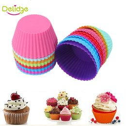 Cupcake Forms NZ - 6 pcs set Round Shape Muffin Cupcake Mold Colorful Silicone Muffin Cupcake Liner Baking Mold Baking Dishes Pan Form