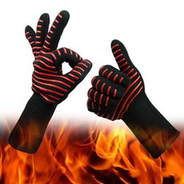 Heat resistant silicone bbq gloves online shopping - Silica Gel Aramid Fiber Cotton Heat Insulation Gloves BBQ Barbecue Microwave Oven Silicone Heat Proof Heat Resistant Mittens rc C R