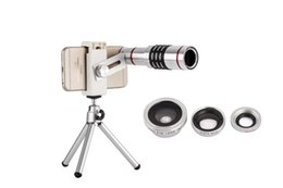 Wholesale Universal X Zoom Optical Telescope lens degree Fisheye Wide Angle Macro Lens With Mini Tripod For Samsung iPhone Xiaomi
