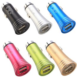 usb power port for car 2019 - Fast charging Led light Dual usb ports 2.1A+1A metal alloy car charger power adapter for iphone 5 6 7 samsung s8 note 8