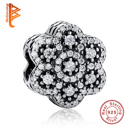 Barato Contas De Cristal Para Fazer Flores-BELAWANG New Arrivals 925 Sterling Silver Crystal Flower Charm Beads Fit Charm Beads Fit Pandora Bracelets DIY Making Jewelry Frete Grátis