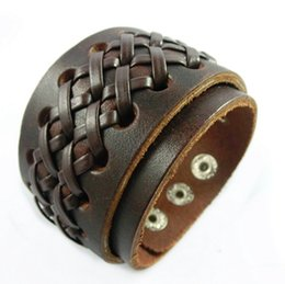 $enCountryForm.capitalKeyWord NZ - Adjustable Gothic Rock Braided X Black Brown Genuine Leather Bracelets & Bangle Punk Wide Cuff Bracelets Men Women Jewelry