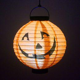 Waterproof chinese lanterns online shopping - Solar Halloween pumpki lamps outdoor solar garden lights waterproof nylon in in in white RGB Color chinese lanterns led solar lights