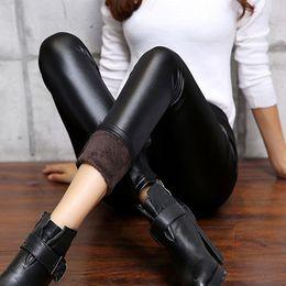 Wholesale Faux Leather Pants Canada - Wholesale- Sexy Womens Faux Leather Velvet Matte Leggings Winter Warm Skinny Pencil Pants