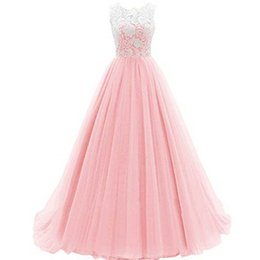 Robe De Soirée Rose À Bas Prix Pas Cher-Cheap High Quality Pink Prom Dress Long A Line Lace Top Sheer Neck Sans manches Puffy Tulle Floor Length Evening Party Gowns Cheap