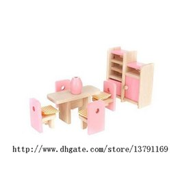 kids room toys NZ - Wooden Furniture Model Playset Pink Miniature Dining Room Early Educational Toy for Kid Child Baby Play