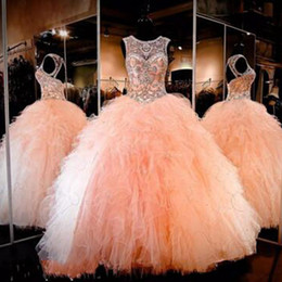 Robes De Soirée Quinceanera Princesse Pas Cher-2017 Cristaux Sparkly Blush Peach Quinceanera Robes Sexy Sheer Jewel Neck Sweet 16 Ruffles Skirt Princess Prom Ball Party Gowns Custom