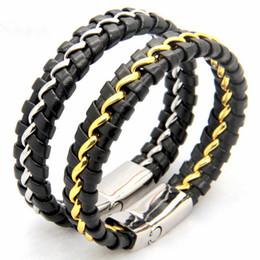 Silver Magnetic Bracelets For Men NZ - Fashion Men's Black Leather Wrap Weave Bracelets for Men Titanium Stainless Steel Magnetic Clasp Punk Cuff Bangles Jewelry