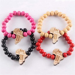 $enCountryForm.capitalKeyWord NZ - Hiphop Good Wood Carving Africa Map Colorful Beads Bracelets Bangles For Men And Women Fashion Charm Jewelry Best Gifts Strands DH225