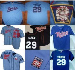 b4eecf3e ... 29 Rod Carew Minnesota Twins Throwback Baseball Jersey Blue 100%  Stitched Embroidery Logos Retro Baseball ...