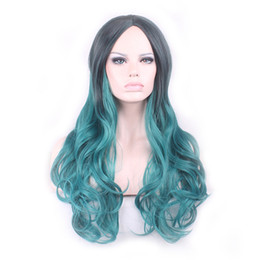 $enCountryForm.capitalKeyWord NZ - WoodFestival black ombre wig green synthetic wigs long wavy wig women natural cheap hair wigs 68cm