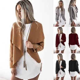 Barato Lapela Do Casaco-Autumn Fashion Women Turn-down Collar Coat Cardigan de manga comprida Casaco de lã feminino Solid Lapel Short Jacket Lady Outwear