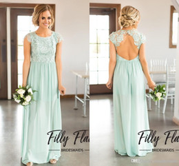 modest country western long bridesmaid dresses 2017 pink jewel neck cap sleeves open back lace top a line chiffon wedding party formal wear discount western
