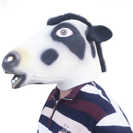 Wholesale adult cosplay cow for sale – halloween Full Face Overhead Cosplay Masquerade Fancy Mask Dress Up Latex Carnival for party mask theater prop dairy cow