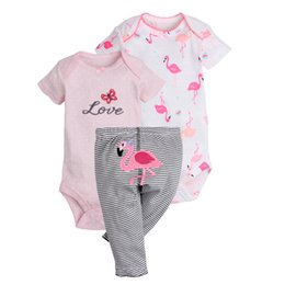 China Flamingo Girl's Clothing Sets 2 Rompers+ 1 Pants Newborn Baby Onesies Infant outfits Jumpsuit Striped Summer Princess Cotton Tops suppliers