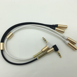 3.5 mm to iphone UK - 3.5 mm 1 Male to 2 Two Female Earphone Jack Headphone Microphone Audio Stereo Y Splitter Cable Adapter Weave String for iphone Samsung Mp3