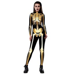 Spiderman coStume women online shopping - Halloween Costumes For Women Sexy D Metal Skull printing Jumpsuits Tight Spiderman Cosplay Catsuit Costumes X007