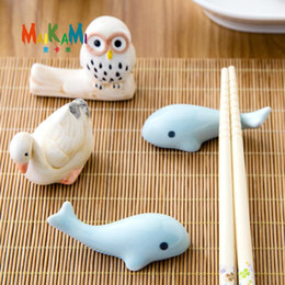 bamboo spoon fork 2019 - Wholesale- 1pcs Animal Shape Ceramics Chopsticks Spoon Forks Knife Rest Holder Durable Lovely Rack Stand discount bamboo