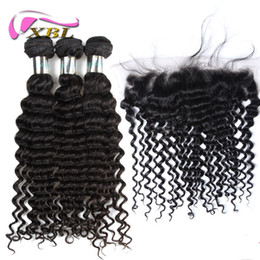 Discount body wave curly hair - XBL Deep Wave Lace Frontal Malaysian Virgin Hair Lace Frontal Within Bundles Body Wave Loose Wave Straight Curly