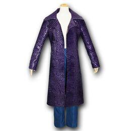 Chinese  Kukucos Batman Suicide Squad Halloween Coat Leather Long Jacket Jared Leto Joker Cosplay Costume Fashion Style manufacturers