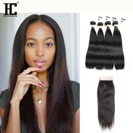 wholesale human hair closures NZ - Brazilian Straight Virgin Hair Weaves 4 Bundles with Lace Closures 8A Grade Unprocessed Malaysian Peruvian Indian Cambodian Remy Human Hair
