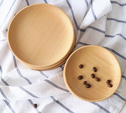 Wholesale 11 cm Chinese fir Woody Plate Dish DIY Craft Wood Sushi Platter Dish Dessert Biscuits Plate Dish Tea Server Tray Wooden Cup Holder Pad