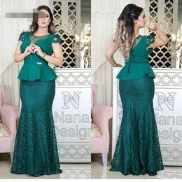 b37821aa6c2 Последние зеленые прямые длинные мать невесты Платья Scoop Cap рукавом баски  талии кружева юбка элегантные вечерние платья матери
