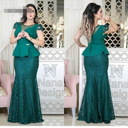 Wholesale Latest Green Straight Long Mother of the Bride Dresses Scoop Cap Sleeve Peplum Waist Lace Skirt Elegant Mother s Evening Dresses