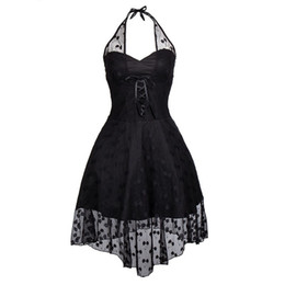 HigH low dance dresses online shopping - Women s Fashion Sleeveless Halloween Burlesuqe Vintage Black Lace Polka Dots High Low Halterneck Steampunk Dancing Dress