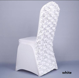 wholesale flower chair covers UK - Rosette Spandex Banquet Chair Cover With Satin Rosette Back For Wedding Party Hotel Decoration Rosette Flower Back
