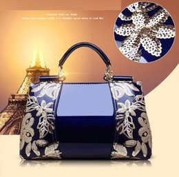 $enCountryForm.capitalKeyWord Canada - New Luxury patent leather handbags fashion classical embroidery women tote bags blue charm shoulder crossbody bags for ladies handbag