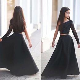 b7c4283da64 Arabic Said Mhamad Black One Shoulder Long Sleeve Kids Prom Dresses A Line  Two Piece Beaded Flower Girls Dresses 2017 BA1435