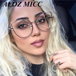 eyeglass frames cat women 2019 - ALOZ MICC High Quality Oversize Women Metal Cat Eye Glasses Frame Brand Designer Fashion Men Clear Lens Eyeglasses UV400