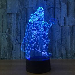Discount emergency lights batteries - 3D Thor lamp Night Lamp 7 RGB Colorful Lights USB Powered with AA Battery Bin Touch Button Wholesale Dropshipping