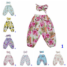 Wholesale flower harem for sale – dress Baby Harem Pants with headband set Infant INS Cotton flower print pants Set with Cute Bow Headband Girl Summer Clothing sets