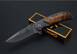 Discount browning knives - FREE SHIPPING Browning 338 Knife total lenght 20.2cm Leopard grain Folding Pocket Hunting Knife Survival Tool Folding Bl
